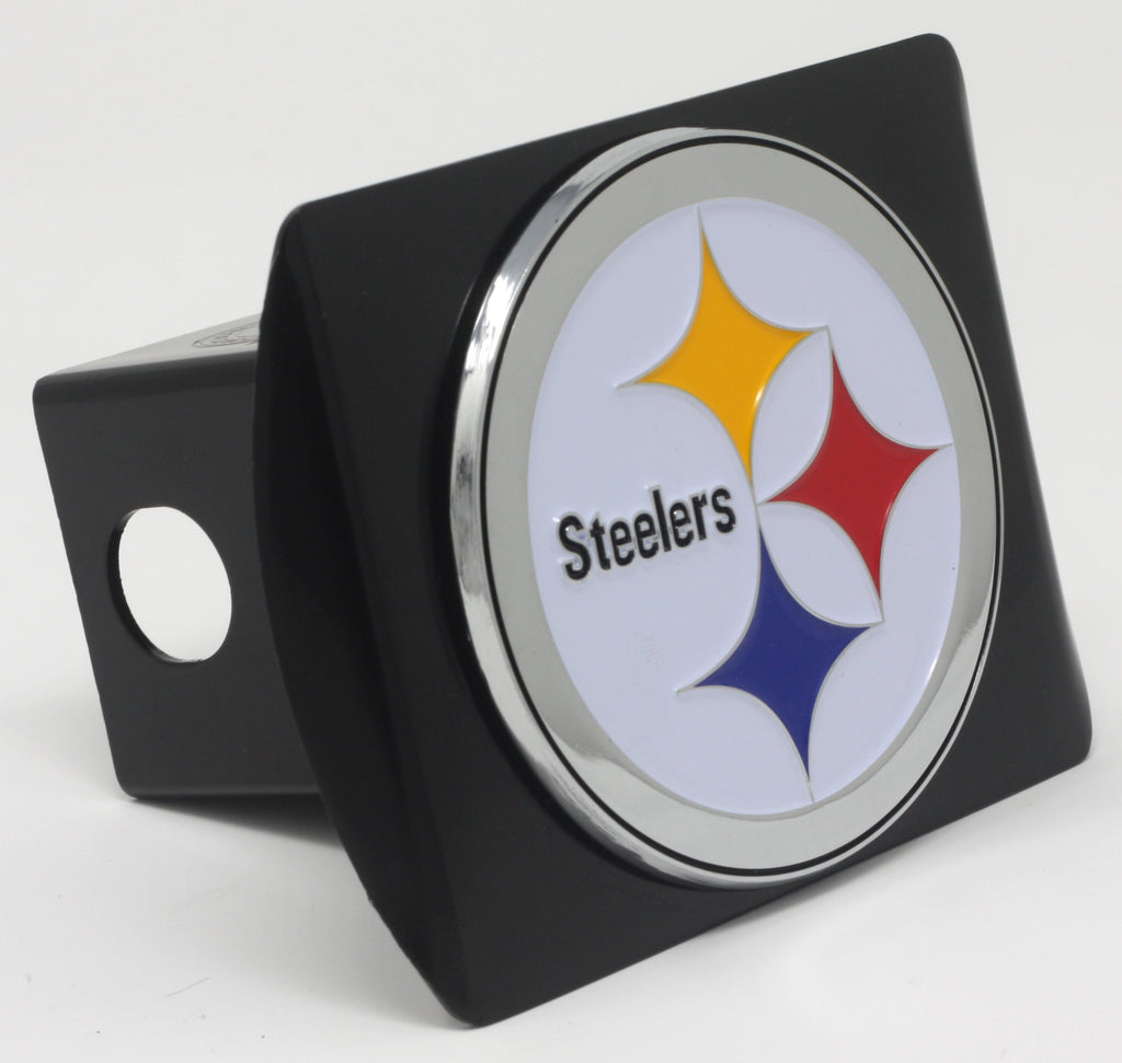 Nfl Pittsburgh Steelers Black Metal Hitch Cover With Chrome Color 3d Emblem