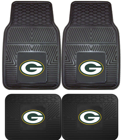 Green Bay Packers 2 and 4 Piece Car Floor Mat Sets