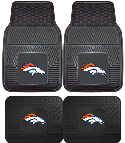 Denver Broncos 2 and 4 Piece Car Floor Mat Sets