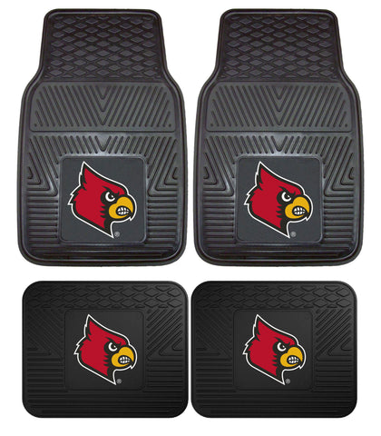 Louisville Cardinals Heavy Duty Vinyl 4 Piece Floor Mat Set for Cars Trucks and SUV's