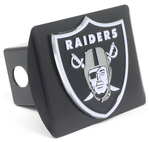 NFL - Oakland Raiders Black Metal Hitch Cover with Chrome Color 3D Emblem