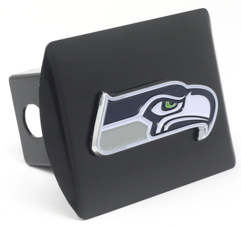 NFL - Seattle Seahawks Black Metal Hitch Cover with Chrome Color 3D Emblem