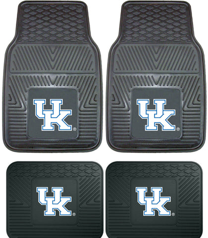 Kentucky Wildcats Heavy Duty Vinyl 4 Piece Floor Mat Set for Cars Trucks and SUV's