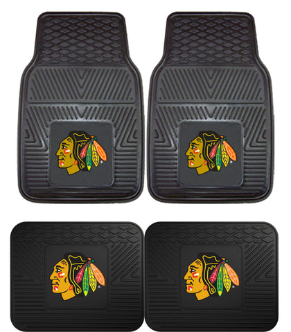 Chicago Blackhawks 2 and 4 Piece Car Floor Mat Set