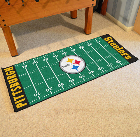 "Pittsburgh Steelers Football Field Runner Area Rug Mat by Fanmats 30""x72"" Item Number 7311"
