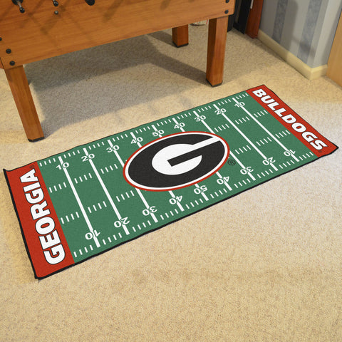 "Georgia Football Field Runner Area Rug Mat by Fanmats 30""x72"" Item Number 7338"