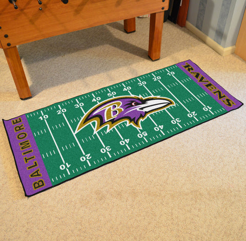 "Baltimore Ravens Football Field Runner Area Rug Mat by Fanmats 30""x72"" Item Number 7344"