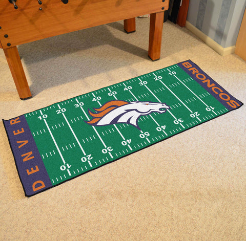"Denver Broncos Football Field Runner Area Rug Mat by Fanmats 30""x72"" Item Number 7350"