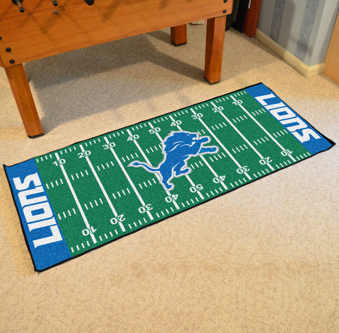 "Detroit Lions Football Field Runner Area Rug Mat by Fanmats 30""x72"" Item Number 7351"