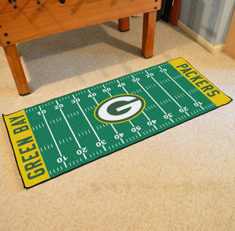 "Green Bay Packers Football Field Runner Area Rug Mat by Fanmats 30""x72"" Item Number 7352"