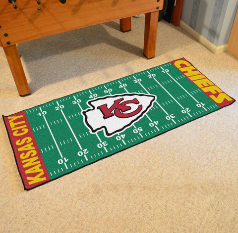 "Kansas City Chiefs Football Field Runner Area Rug Mat by Fanmats 30""x72"" Item Number 7356"