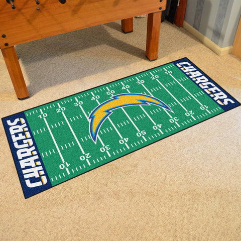 "San Diego Chargers Football Field Runner Area Rug Mat by Fanmats 30""x72"" Item Number 7364"