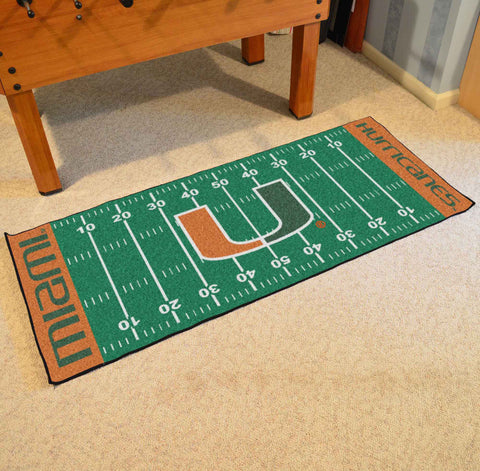 "Miami Football Field Runner Area Rug Mat by Fanmats 30""x72"" Item Number 7527"