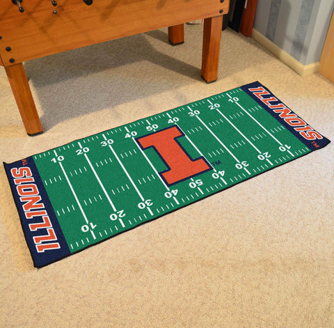 "Illinois Football Field Runner Area Rug Mat by Fanmats 30""x72"" Item Number 7541"