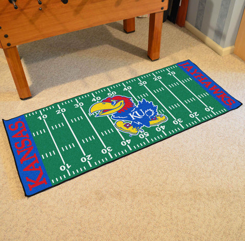 "Kansas Football Field Runner Area Rug Mat by Fanmats 30""x72"" Item Number 7544"