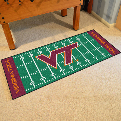 "Virginia Tech Football Field Runner Area Rug Mat by Fanmats 30""x72"" Item Number 7567"