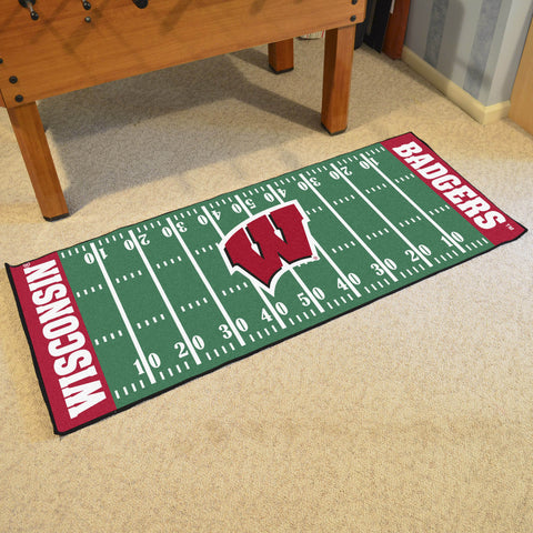 "Wisconsin Football Field Runner Area Rug Mat by Fanmats 30""x72"" Item Number 7568"