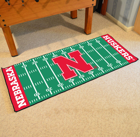 "Nebraska Football Field Runner Area Rug Mat by Fanmats 30""x72"" Item Number 8183"