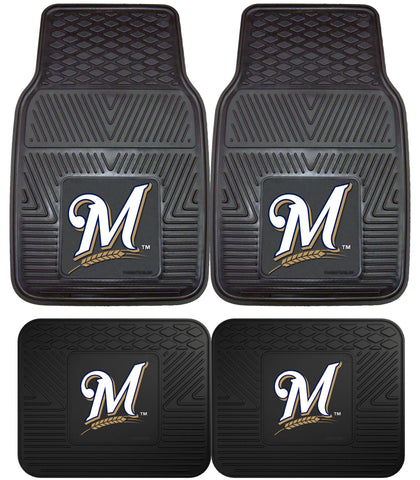 Milwaukee Brewers Heavy Duty 2 and 4 Piece Car Floor Mat Sets