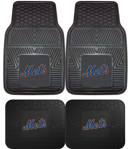 New York Mets Heavy Duty 2 and 4 Piece Car Floor Mat Sets