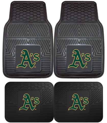 Oakland A's Heavy Duty 2 and 4 Piece Car Floor Mat Sets