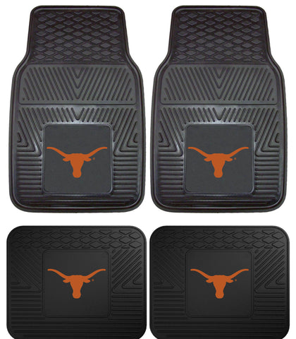 Texas Longhorns Heavy Duty Vinyl Floor Mats 4 Pc Set for Car Trucks and SUV's