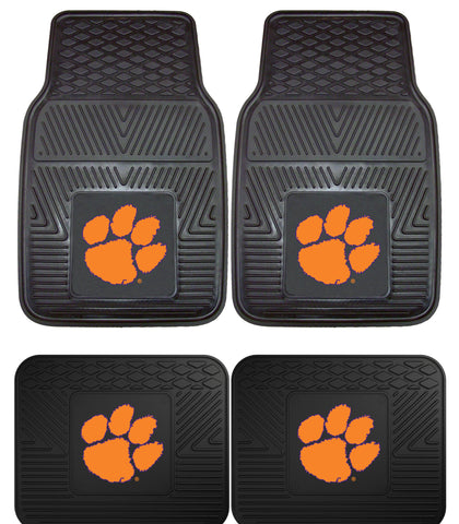 Clemson Tigers Heavy Duty Floor Mat 4 Pc Set for Cars Trucks & SUV's