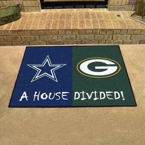 Dallas Cowboys Green Bay Packers House Divided Area Rug Mat