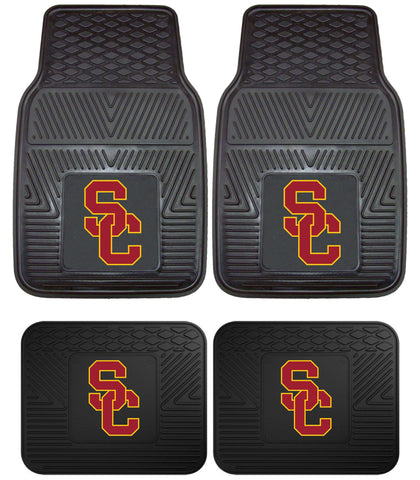 USC Southern Cal Trojans Heavy Duty Floor Mats 2 & 4 pc Sets for Cars Trucks [4 Piece (2 front & 2 rear)]