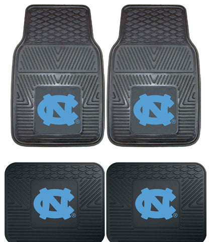 North Carolina UNC Heavy Duty 4 Piece Floor Mat Set for Cars Truck & SUV's