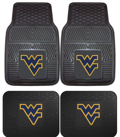 West Virginia Mountaineers WVU Heavy Duty Vinyl Floor Mats 4 Piece Set for Cars Trucks and SUV's