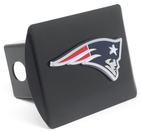 NFL - New England Patriots Black Metal Hitch Cover with Chrome Color 3D Emblem
