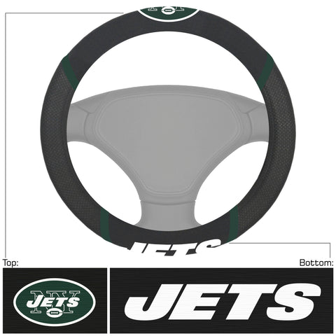 NFL - New York Jets Steering Wheel Cover with Embroidered Logos