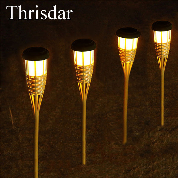 Thrisdar 8PCS Solar Garden Tiki Torch Lights Outdoor Path Lawn Grounding Sun Light Landscape Garden Yard Solar Spike Spotlight