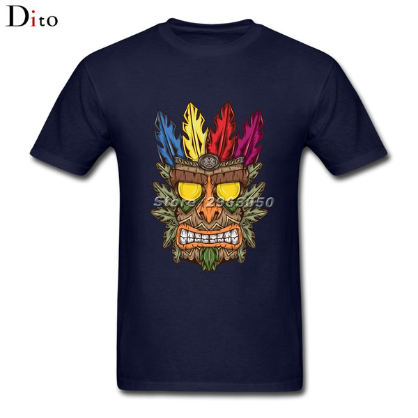 African Tribe Feather Crown Tiki Crash Bandicoot T Shirt Men Man's Short Sleeve Crewneck Cotton 3XL Couple  Tee Shirts