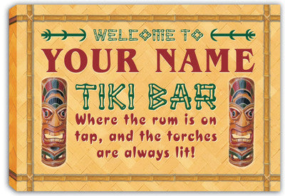 scpm1-tm Personalized Custom Tiki Bar Beer Stretched Canvas Print Decor Sign Wholesale Dropshipping