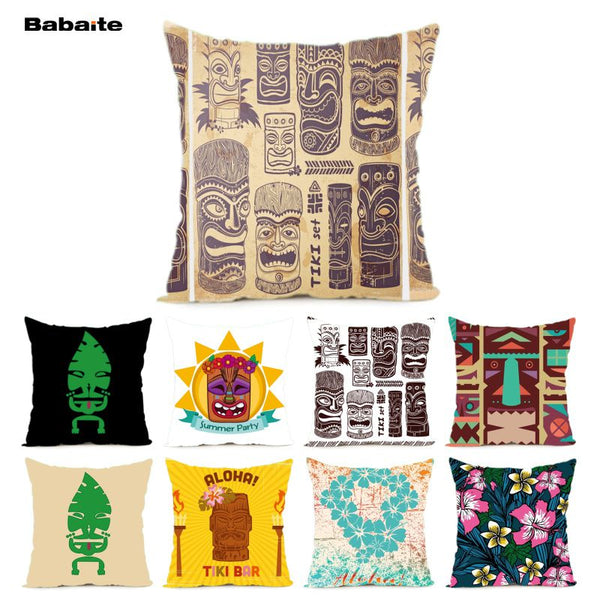 Babaite Cool Grunge Vintage Tiki Set Nice Luxury Print Throw Pillowcase Hidden Zipper Pillow Case