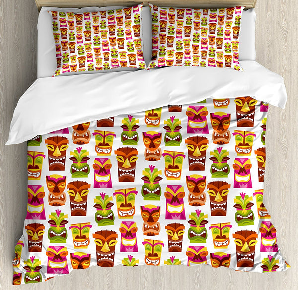 Decor Duvet Cover Set 60's Retro Inspired Cute Hawaiian Party Happy Tiki Statues Pattern Colorful Decorative 4 Piece Bedding Set