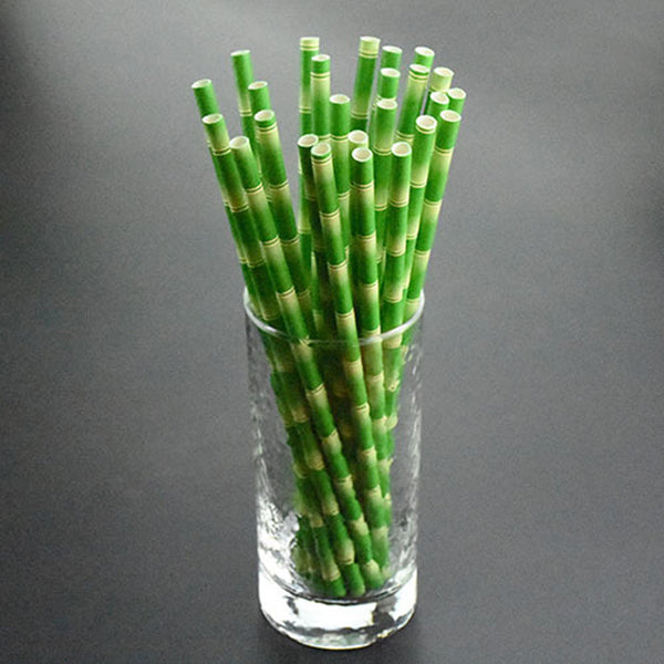 25pcs/lot Paper Straws Bamboo Print Tiki Paper Straws Hawaiian Jungle Luau Colored Patterned Mason Jar Straws Bulk Xmas