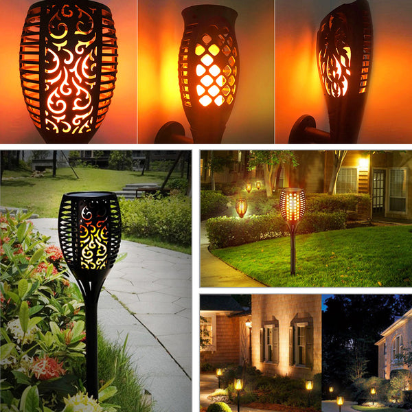 LED Garden Waterproof Outdoor Courtyard Lamp Solar Tiki Torch Lights Dancing Flame Flickering 96 LEDs Decorative Light IP65