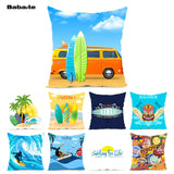 Babaite Hawaii Tiki Iceland Aloha Surfing Summer Beach Bedding Zippered Throw Pillowcase Covers with Hidden Zipper