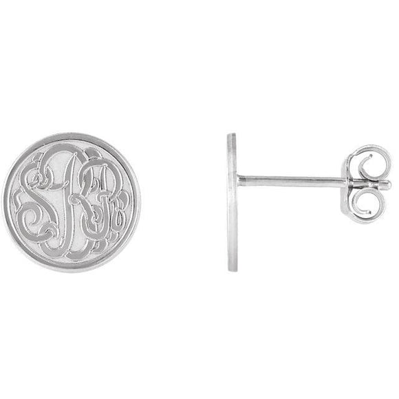 10mm 3-Letter Script Monogram Earrings