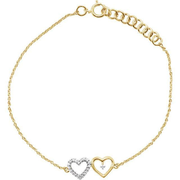 "10K Yellow .07 CTW Diamond Double Heart 7"" Bracelet"