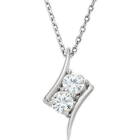 "14K 4mm Round Forever One™ Moissanite 18"" Necklace"