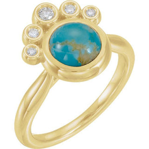 14K Yellow Rainbow Moonstone & Diamond Ring