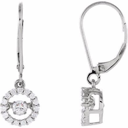 14K White 1/2 CTW Diamond Halo-Style Mystara® Earrings