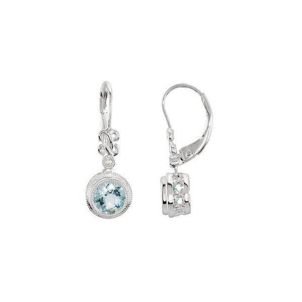 Aquamarine & .02 CTW Diamond Earrings