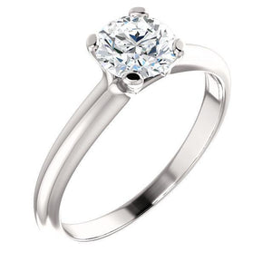 14K White 6.5mm Round Forever One™ Moissanite Ring
