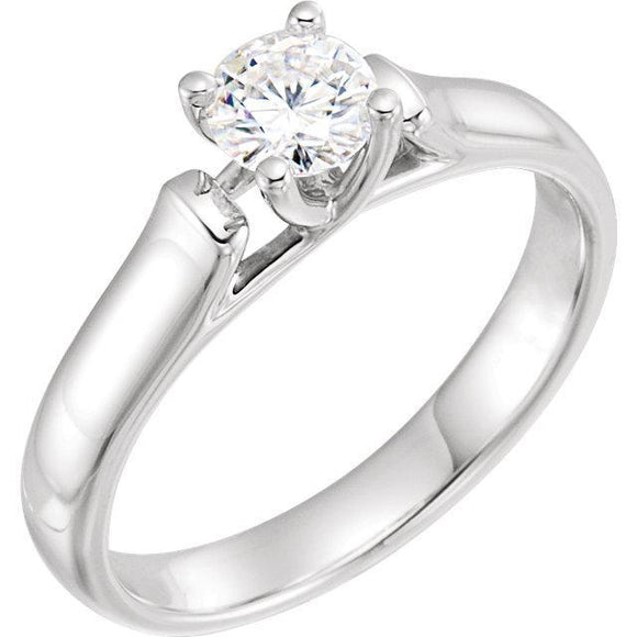 14K White 5mm Round Forever One™ Moissanite Solitaire Engagement Ring