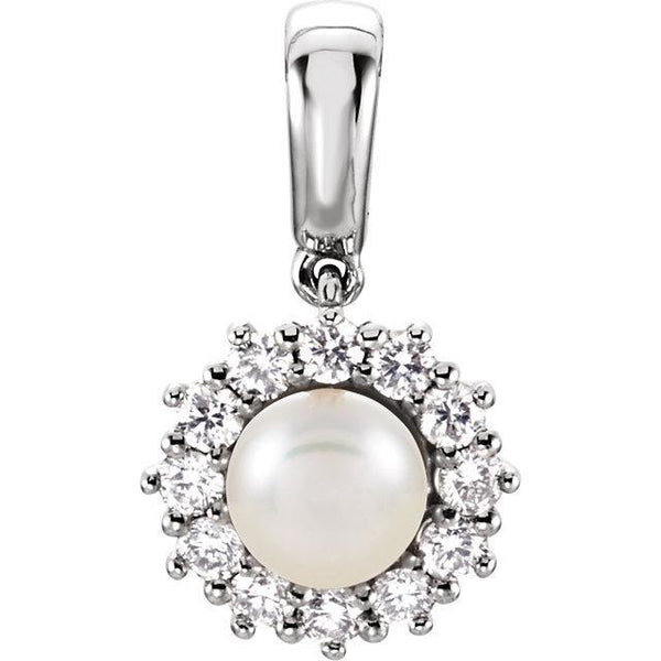 14K Freshwater Cultured Pearl & 1/3 CTW Diamond Pendant